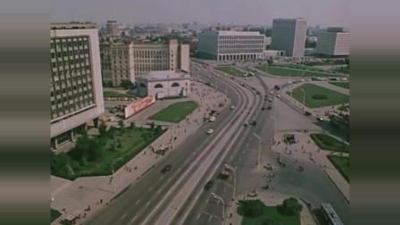 苏联莫斯科1982川流不息,电车高楼很先进