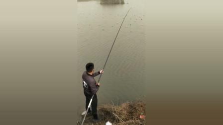 冬天钓鱼还是长竿好用,野河的鲫鱼也能爆护!