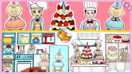 迪士尼手工:双胞胎芭比宝宝1周岁生日,美味水果蛋糕好吃极了!
