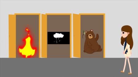 脑力测试:你认为小静应该选择哪一扇门才能安全离开呢?为什么?