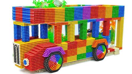 磁力球又玩出了新高度,看小伙子是怎么用它建造双层巴士水族馆