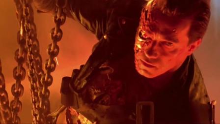 终结者2:好不容易干掉液态机器人后,施瓦辛格面无表情地赴死