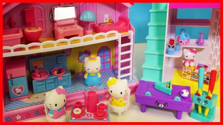 凯蒂猫 Hello Kitty 的可爱房子玩具,小猫咪一起去购物喝茶