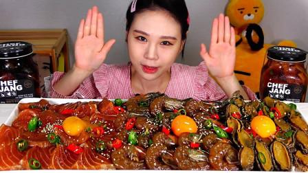 """韩国吃播:""""酱鲍鱼+酱三文鱼+酱虾"""",搭配米饭,卡妹吃得真过瘾"""