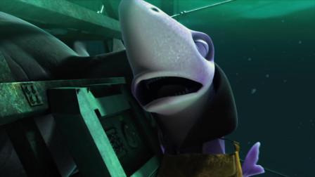 海底大冒险:小鲨鱼开心的觅食,不停吃,却没发现身后的大鲨鱼