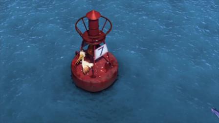 海底大冒险:鱼群跟随派克跃出水面,却把一只倒霉的鸟撞到水里