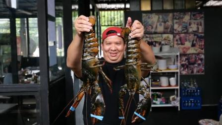 泰国路边小吃!巨大龙虾+鸡蛋+奶酪酱,你确定这不是糟蹋龙虾!