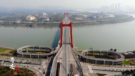 航拍广西南宁良庆大桥,很像美国的金门大桥,连接良庆区与青秀区