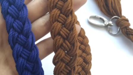 5分钟做出一条漂亮的手编包带,一款编麻带教程,做成腰带也好看