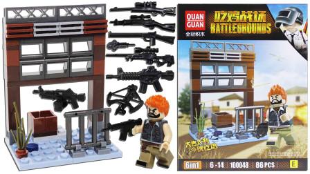 吃鸡战场积木沙漠城区 仓库与人仔 模型拼装玩具鳕鱼乐园
