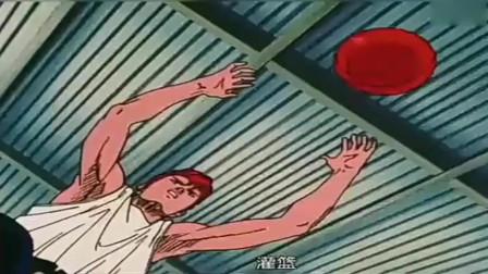 灌篮高手:这应该算是樱木花道生涯最佳进球之一了,扛着个人灌篮