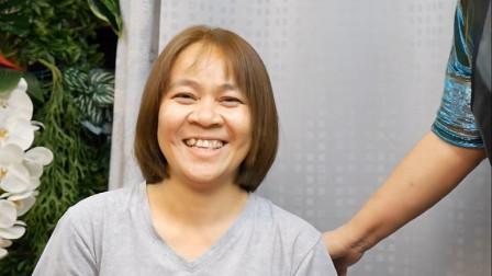 46岁女性披肩发染完剪一剪,时尚显年轻,满意到自己都乐了