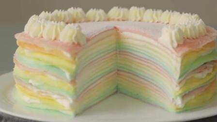 小姐姐制作彩虹千层蛋糕,颜色柔和养眼,好看的舍不得吃