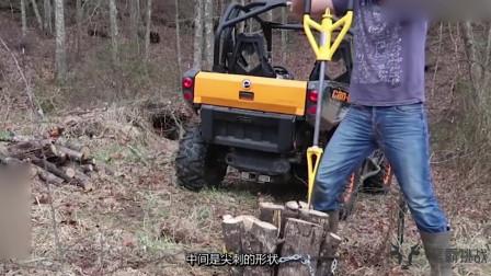 """""""劈柴神器""""这设备厉害,劈柴跟切豆腐一样"""
