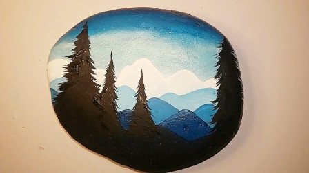 手工彩绘教程,看看如何在石头上画风景,非常有创意!