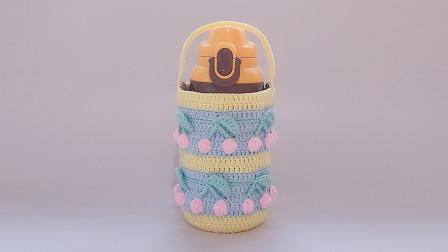 钩针编织适合胖胖杯立体樱桃花样的水杯套如何钩织