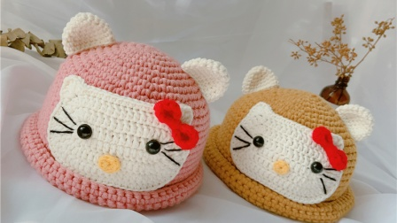 【小月手作 第139集】(kitty部分)手工钩针编织粗毛线帽子宝宝秋冬卷边帽