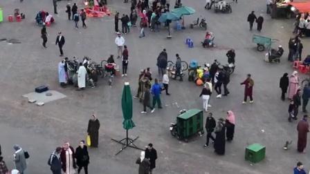 """摩洛哥马拉喀什""""德吉玛·艾尔.法纳广场""""又称""""不眠广场""""s"""
