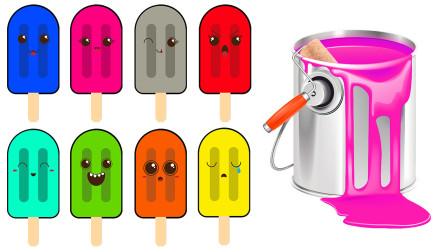 媛媛七彩乐园 一起动手给冰淇淋们涂上不同的颜色