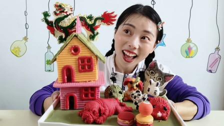 """小姐姐吃""""小房子造型巧克力"""",造型精美动物多,温暖甜蜜又丝滑"""