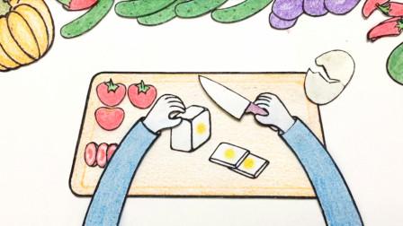 把鸡蛋做成方形,切开,夹一片番茄吃最美味