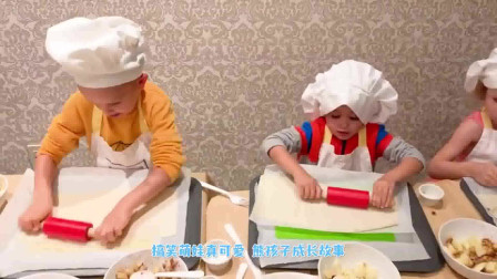 萌娃小可爱们化身厨师做面包!小家伙的手艺真不错!萌娃:涂上鸡蛋!
