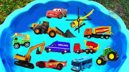 亲子早教动画认识麦昆铲车搅拌车等工程车学颜色