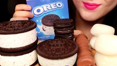 小姐姐吃奥利奥三明治冰淇淋,看着奶油夹层食欲大增