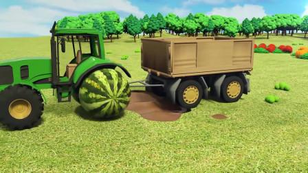 趣味益智动画片 拖拉机运西瓜掉进水坑