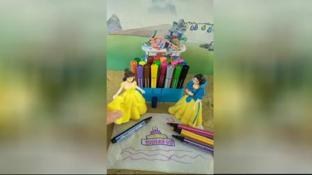 少儿益智幼教:贝儿给白雪画了一个生日蛋糕