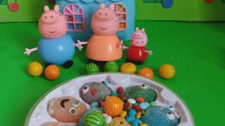 给小猪佩奇一家发好吃的糖果了,为何乔治忽然走了,小朋友们知道原因吗?