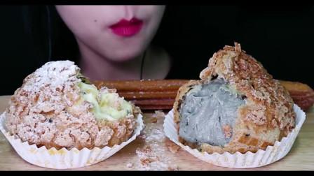 吃播大胃王:超大酥粒奶油泡芙+特大酥脆吉事果,小姐姐吃得太过瘾了吧