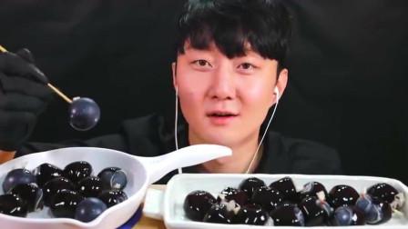 韩国大胃王小哥,试吃巨峰葡萄果冻,大口大口吃的太过瘾了