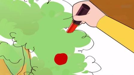 大头儿子:大头没有可以涂出红苹果的蜡笔,爸爸拿来了妈妈的口红