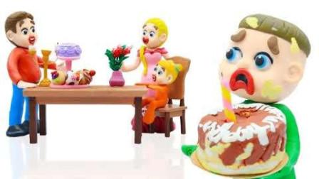橡皮泥人杰克给妈妈准备的生日惊喜!自己亲自做的蛋糕!~小橡皮人游戏