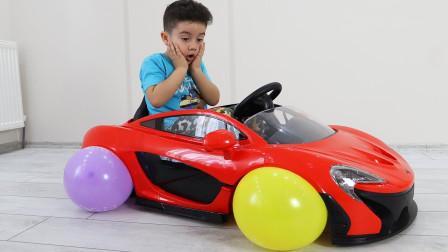 好奇怪!萌宝小正太为何用气球当做车轮子?趣味玩具故事