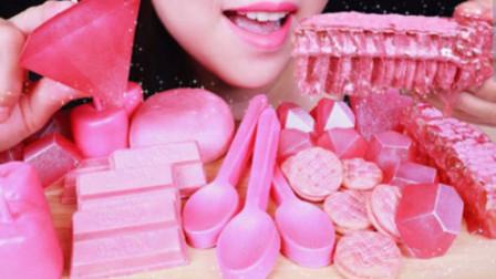 吃播小姐姐:咀嚼音吃播,粉色主题系列,吃粉色蛋糕马卡龙!