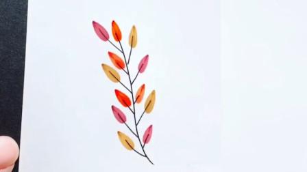 清新可爱的树叶小插画,简单的绘画过程,手学会了吗