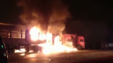 安徽滁州 加气站旁 货车油箱爆炸起火
