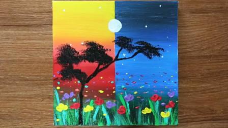 手工绘画教程,昼夜风景画的制作方法,艺术感十足!
