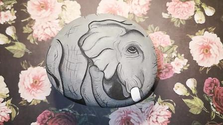 手工彩绘教程,看看如何在石头上画大象,简单又漂亮!