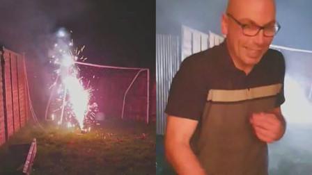 男子后花园放烟花 意外被点燃烟花击中脖子
