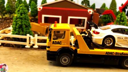 卡车运输小汽车,农场房屋栅栏牛羊马挖掘机拖车,儿童玩具亲子互动