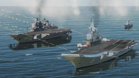 总共220枚反舰导弹,偷袭辽宁舰跟库舰双航母编队!结果会怎样?战争模拟