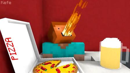 我的世界MC动画:怪物学校《在披萨店工作》,史蒂夫挑战变态辣披萨