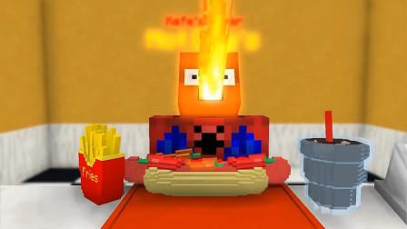 我的世界MC动画:怪物学校《在热狗店工作》,蜘蛛侠吃了会喷火的热狗你敢尝吗?