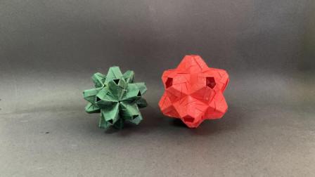 【折纸教程】这么漂亮的花球,折一个给孩子玩吧!又简单又有趣
