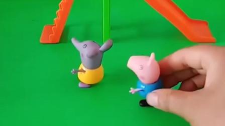 乔治和小朋友排队玩滑梯,猪爷爷怕乔治摔倒,想让乔治回家