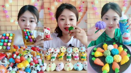 美女试吃各种棉花糖,卡通造型好可爱,你喜欢吗?