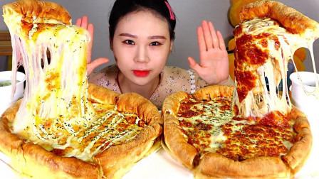 """韩国吃播:""""芝加哥芝士披萨+烤肉披萨"""",看这分量,胃口真大啊"""